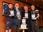 Josh Windass, Jack Davidson, Bobby Brown and Graeme Murty with Bobby's book