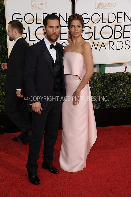 WWW.ACEPIXS.COM<br /> <br /> January 11 2015, LA<br /> <br /> Matthew McConaughey and Camila Alves arriving at the 72nd Annual Golden Globe Awards at The Beverly Hilton Hotel on January 11, 2015 in Beverly Hills, California.<br /> <br /> <br /> By Line: Peter West/ACE Pictures<br /> <br /> <br /> ACE Pictures, Inc.<br /> tel: 646 769 0430<br /> Email: info@acepixs.com<br /> www.acepixs.com