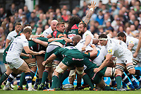A general view of a scrum. Aviva Premiership match, between Leicester Tigers and Bath Rugby on September 3, 2017 at Welford Road in Leicester, England. Photo by: Patrick Khachfe / Onside Images