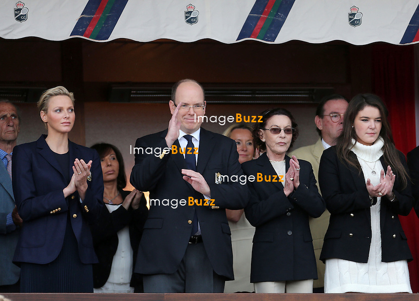 PRINCE ALBERT OF MONACO & PRINCESS CHARLENE - /April 21, 2013-Prince Albert, Princess Charlene, Baroness Elizabeth-Ann de Massy and daughter Mélanie-Antoinette de Massy attend the Final match of the Monte-Carlo Rolex Masters between Novak Djokovic and Rafael Nadal.