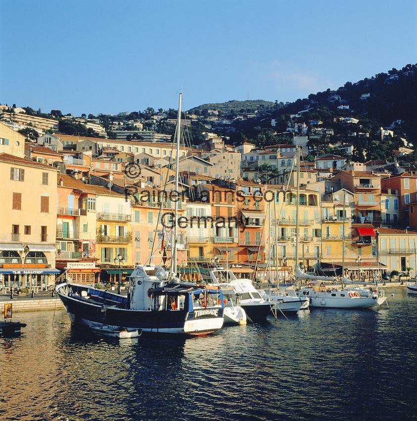 France, Côte d'Azur, Villefranche-sur-mer: Harbour Scene | Frankreich, Côte d'Azur, Villefranche-sur-mer: Stadt und Hafen