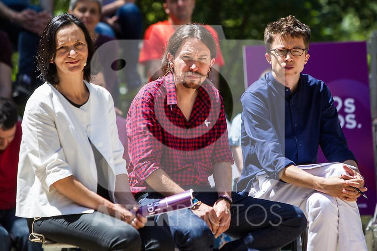 Pablo Iglesias, Inigo Errejon and Carolina Bescansa during the presentation of the electioneering of Unidos Podemos. Jun 2,2016. (ALTERPHOTOS/Rodrigo Jimenez)