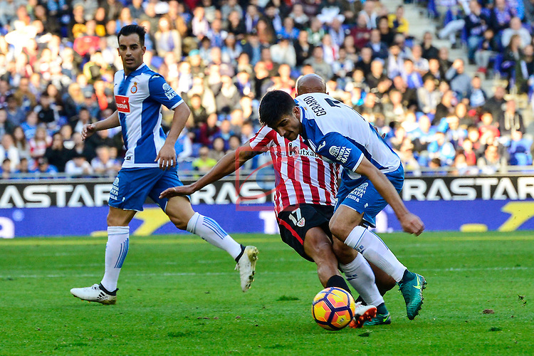 League Santander 2016/2017. Game: 11.<br /> RCD Espanyol vs Athletic Club: 0-0.<br /> Mikel Rico vs Gerard Moreno.
