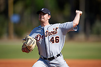 Detroit Tigers pitcher Tyler Alexander (46) delivers a pitch during a Minor League Spring Training intrasquad game on March 24, 2018 at the TigerTown Complex in Lakeland, Florida.  (Mike Janes/Four Seam Images)