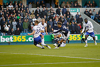 Lee Gregory of Millwall gets a shot off during the Sky Bet Championship match between Millwall and Birmingham City at The Den, London, England on 21 October 2017. Photo by Carlton Myrie.