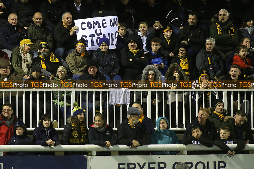 'Come on u Stones' small banner in the Main Stand during Maidstone United vs Oldham Athletic, Emirates FA Cup Football at the Gallagher Stadium on 1st December 2018
