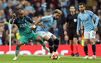 Manchester City's Kyle Walker holds off the challenge from Tottenham Hotspur's Lucas Moura<br /> <br /> Photographer Rich Linley/CameraSport<br /> <br /> UEFA Champions League - Quarter-finals 2nd Leg - Manchester City v Tottenham Hotspur - Wednesday April 17th 2019 - The Etihad - Manchester<br />  <br /> World Copyright © 2018 CameraSport. All rights reserved. 43 Linden Ave. Countesthorpe. Leicester. England. LE8 5PG - Tel: +44 (0) 116 277 4147 - admin@camerasport.com - www.camerasport.com