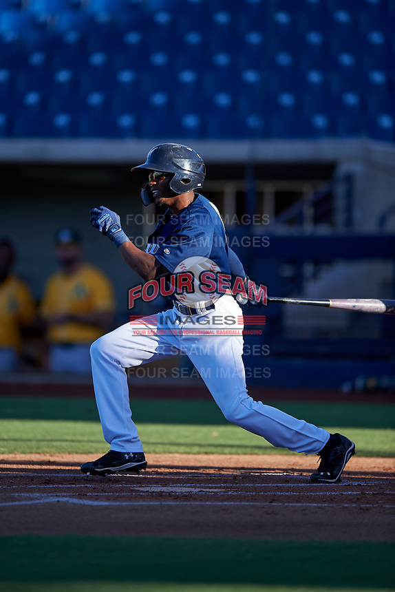 AZL Brewers Blue Terence Doston (9) at bat during an Arizona League game against the AZL Athletics Gold on July 2, 2019 at American Family Fields of Phoenix in Phoenix, Arizona. AZL Athletics Gold defeated the AZL Brewers Blue 11-8. (Zachary Lucy/Four Seam Images)