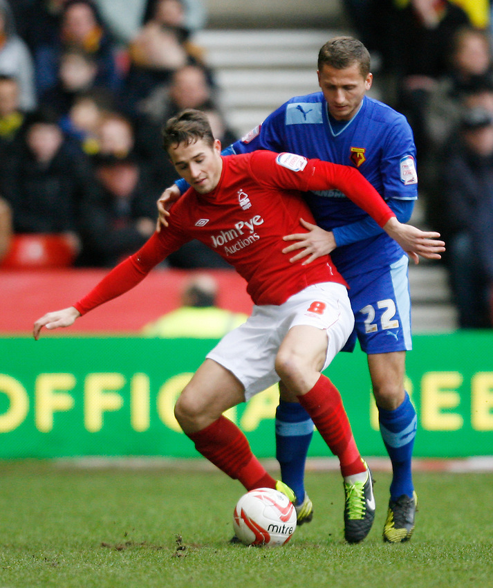 Nottingham Forest's Chris Cohen (L) and Watford's Almen Abdi in action   ..Football - npower Football League Championship - Nottingham Forest v Watford   - Saturday 26th january 2013 - The City Ground - Nottingham..