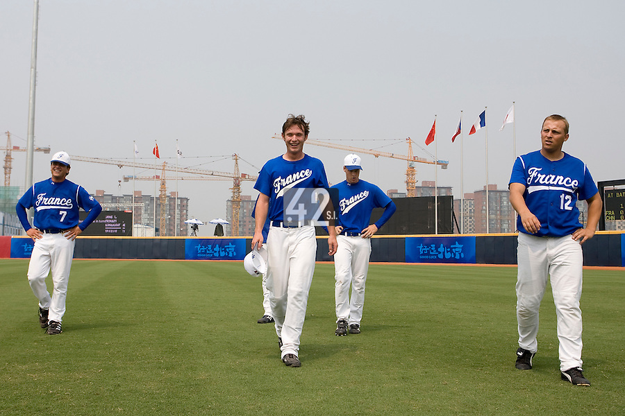 18 August 2007: Team France stretch after the China 5-1 victory over France in the Good Luck Beijing International baseball tournament (olympic test event) at the Wukesong Baseball Field in Beijing, China.