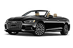 Stock pictures of low aggressive front three quarter view of 2019 Audi A5-Cabriolet Premium-Plus 2 Door Convertible Low Aggressive