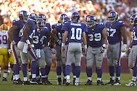 23 September 2007:.The New York Giants defeated the Washington Redskins 24-17 at FedEx Field in Landover, MD.