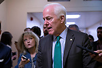 Senator John Cornyn, Republican of Texas, speaks with reporters in the Senate Subway inside the United States Capitol Building in Washington, DC on May 15, 2018. Credit: Alex Edelman / CNP | usage worldwide