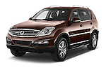 2015 Ssangyong Rexton W Sapphire 5 Door Suv Angular Front stock photos of front three quarter view