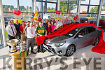 Launching the new Toyota Avensis on Wednesday at Kelliher's garage Tralee was John Griffin, Kerry Hurling Captain and part of the Team, winners of the Christy Ring Cup 2015 here with Tim Kelliher, staff and Customers