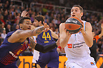 Turkish Airlines Euroleague 2017/2018.<br /> Regular Season - Round 23.<br /> FC Barcelona Lassa vs R. Madrid: 74-101.<br /> Edwin Jackson vs Fabien Causeur.