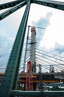 La construction du nouveau pont Champlai, aout 2018<br /> <br /> PHOTO : Agence Quebec Presse
