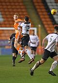 04/12/2018 FA Youth Cup 3rd Round Blackpool v Derby County<br /> <br /> Owen Watkinson challenges Callum Minkley