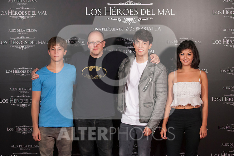 (L-R) Emilio Palacios, Zoe Berriatua, Jorge Clemente and Beatriz Medina pose during `Los heroes del mal´ film presentation in Madrid, Spain. September 09, 2015. (ALTERPHOTOS/Victor Blanco)