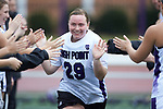 Jill Rall (29) of the High Point Panthers high fives her teammates during player introductions prior to the match against the North Carolina Tar Heels at Vert Track, Soccer & Lacrosse Stadium on February 16, 2018 in High Point, North Carolina.  The Tar Heels defeated the Panthers 14-10.  (Brian Westerholt/Sports On Film)