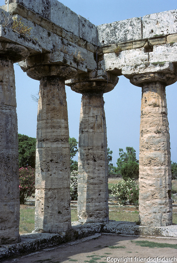 Italy: Paestum--Temple of Hera I, Cornice. Photo '83.