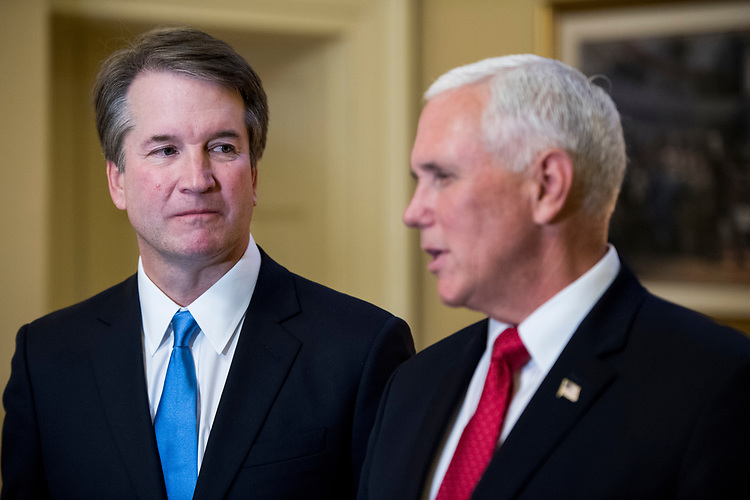 UNITED STATES - JULY 10: Supreme Court nominee Brett Kavanaugh, left, and Vice President Mike Pence meet with Senate Majority Leader Mitch McConnell, R-Ky., left, in McConnell's office in the Capitol on Tuesday, July 10, 2018, the day after President Donald Trump nominated Kavanaugh to the Supreme Court. (Photo By Bill Clark/CQ Roll Call/POOL)