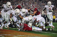 Jan 7, 2010; Pasadena, CA, USA; Alabama Crimson Tide running back Mark Ingram (22) dives into the endzone for a touchdown during the fourth quarter of the 2010 BCS national championship game against the Texas Longhorns at the Rose Bowl.  Mandatory Credit: Mark J. Rebilas-.