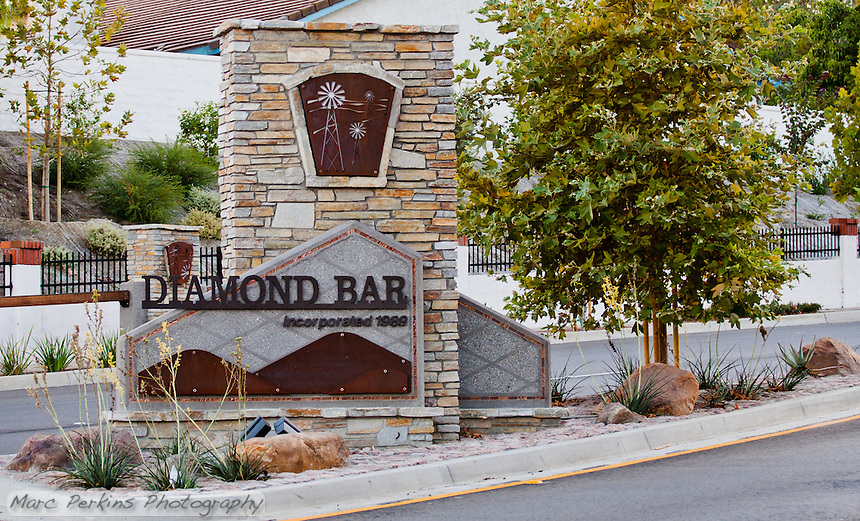 "Perspective shot on the location of the Diamond Bar entrance sign on Grand Ave.  This was part of the 2015 rebuild of the Grand Avenue and Longview Drive intersection for Diamond Bar's 2015 ""Grand Avenue Beautification"" project, landscape architecture for the project was by David Volz Design."