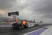 Apr 24, 2015; Baytown, TX, USA; NHRA  top fuel driver Kebin Kinsley during qualifying for the Spring Nationals at Royal Purple Raceway. Mandatory Credit: Mark J. Rebilas-