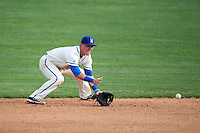 Hartford Yard Goats shortstop Pat Valaika (10) fields a ground ball during the first game of a doubleheader against the Trenton Thunder on June 1, 2016 at Sen. Thomas J. Dodd Memorial Stadium in Norwich, Connecticut.  Trenton defeated Hartford 4-2.  (Mike Janes/Four Seam Images)