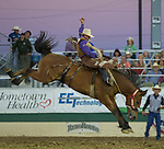 Cody DeMosswon the Saddle Bronc event during the Reno Rodeo in Reno, Nevada on Sunday, June 17, 2018