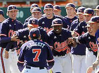 Photo of the Clemson Tigers prior to a game against the Wright State Raiders Saturday, Feb. 27, 2011, at Doug Kingsmore Stadium in Clemson, S.C. Photo by: Tom Priddy/Four Seam Images