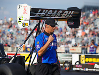 Sep 23, 2016; Madison, IL, USA; Aaron Brooks , crew chief for NHRA top fuel driver Richie Crampton during qualifying for the Midwest Nationals at Gateway Motorsports Park. Mandatory Credit: Mark J. Rebilas-USA TODAY Sports
