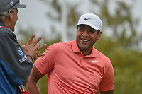 Tony Finau (USA) shares a laugh on the tee on 10 during day 3 of the Valero Texas Open, at the TPC San Antonio Oaks Course, San Antonio, Texas, USA. 4/6/2019.<br /> Picture: Golffile | Ken Murray<br /> <br /> <br /> All photo usage must carry mandatory copyright credit (&copy; Golffile | Ken Murray)