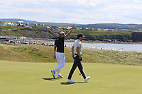 Guido Migliozzi (ITA) and Niall Horan (AM) on the 3rd green during the Pro-Am of the Irish Open at LaHinch Golf Club, LaHinch, Co. Clare on Wednesday 3rd July 2019.<br /> Picture:  Thos Caffrey / Golffile<br /> <br /> All photos usage must carry mandatory copyright credit (© Golffile | Thos Caffrey)