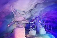 Ice sculptures inside Glacier Palace, Klein Matterhorn, near Zermatt, Switzerland