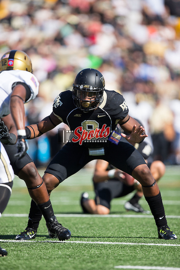 Marquel Lee (8) of the Wake Forest Demon Deacons on special teams during first half action against the Army Black Knights at BB&T Field on September 20, 2014 in Winston-Salem, North Carolina.  The Demon Deacons defeated the Black Knights 24-21.  (Brian Westerholt/Sports On Film)