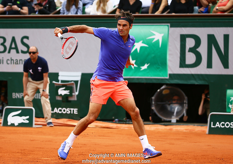 ROGER FEDERER (SUI)<br /> <br /> Tennis - French Open 2015 -  Roland Garros - Paris -  ATP-WTA - ITF - 2015  - France <br /> <br /> &copy; AMN IMAGES