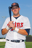 Brian Burke #9 of the Elizabethton Twins at Joe O'Brien Field August 15, 2010, in Elizabethton, Tennessee.  Photo by Brian Westerholt / Four Seam Images