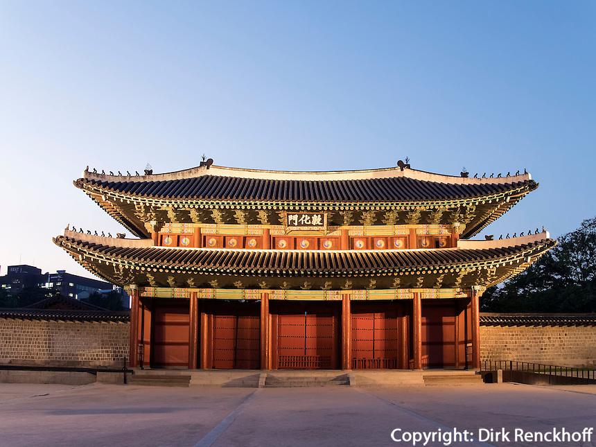 Donwhamun Tor des Palast Changdeokgung, Seoul, S&uuml;dkorea, Asien, UNESCO-Weltkulturerbe<br /> Donwhamun gate of palace Changdeokgung,  Seoul, South Korea, Asia UNESCO world-heritage