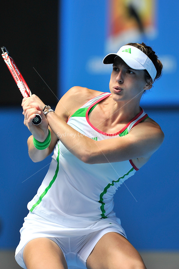 MELBOURNE, 25 JANUARY - Andrea Petkovic (GER) in action during her quarter final match against Na Li (CHN) on day nine of the 2011 Australian Open at Melbourne Park, Australia. (Photo Sydney Low / syd-low.com)