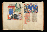 "Left page : Dice players in a Sevilian garden; right page : Alfonso X of Castile (1221-1284), called the Wise, dictating to two scribes, with two other characters that might be chess players of his court compiling information about the game. First edition of the ""Book of Chess, Dice and Board Games"", 13th century manuscript kept in the Library of the Real Monastery in San Lorenzo de El Escorial, on natural parchment made of animal skin published by Scriptorium SL in Valencia, Spain. © Scriptorium / Manuel Cohen"