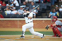 Brendan Tinsman (9) of the Wake Forest Demon Deacons follows through on his swing against the North Carolina State Wolfpack at David F. Couch Ballpark on April 18, 2019 in  Winston-Salem, North Carolina. The Demon Deacons defeated the Wolfpack 7-3. (Brian Westerholt/Four Seam Images)