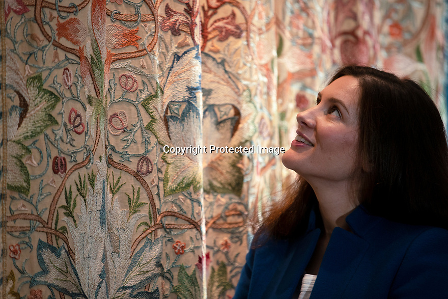 29/05/15<br /> <br /> Curator Dr. Alice Strickland admires Artichoke embroidery.<br /> <br /> Morris & Co. Inspired by Nature at Standen House and Garden, the National Trust's Arts and Craft House in East Grinstead, West Sussex delves in to the World of Morris & Co. Discover how repeating patterns of flowers and birds were chosen for the designs and the value that Morris placed on the revival of traditional skill. 1 Jun - 10 Nov 2019.<br /> <br /> All Rights Reserved: F Stop Press Ltd. +44(0)1335 418365   +44 (0)7765 242650 www.fstoppress.com