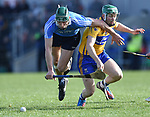 James Madden of Dublin in action against Cathal Mc Inerney of Clare during their National Hurling League game at Cusack Park. Photograph by John Kelly.