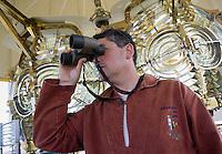 Europe/France/Bretagne/56/Morbihan/Belle-Ile/ Kervilahouen: le grand phare  édifié de 1826 à 1835 sur des plans de l'ingénieur Augustin Fresnel- Le gardien  du phare Mr Granger