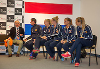 Arena Loire,  Trélazé,  France, 14 April, 2016, Semifinal FedCup, France-Netherlands, Draw,  Dutch team<br /> Photo: Henk Koster/Tennisimages