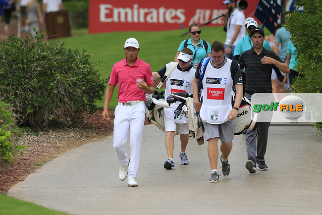 Ross Fisher (ENG) and Ross Fisher (ENG) on the 14th tee during the 3rd round of the DP World Tour Championship, Jumeirah Golf Estates, Dubai, United Arab Emirates. 17/11/2018<br /> Picture: Golffile | Fran Caffrey<br /> <br /> <br /> All photo usage must carry mandatory copyright credit (&copy; Golffile | Fran Caffrey)