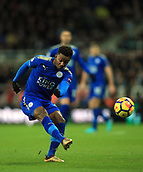 9th December 2017, St James Park, Newcastle upon Tyne, England; EPL Premier League football, Newcastle United versus Leicester City; Demarai Gray of Leicester City shoots for goal in the first half