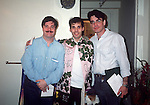 "Nathan Lane, Mark Esposito (Gypsy Robe Recipient)  and Peter Gallagher of ""Guys N Dolls"" in 1992."
